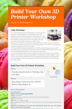 Build Your Own 3D Printer Workshop