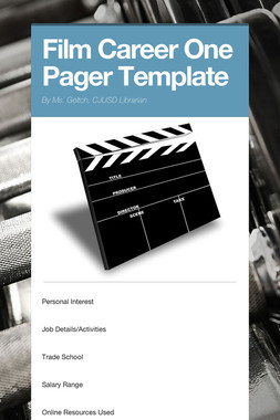 Film Career One Pager Template