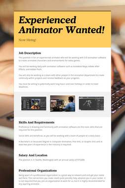 Experienced Animator Wanted!