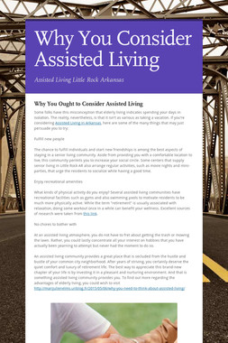 Why You Consider Assisted Living