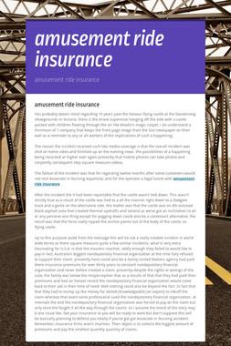 amusement ride insurance
