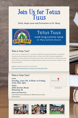 Join Us for Totus Tuus