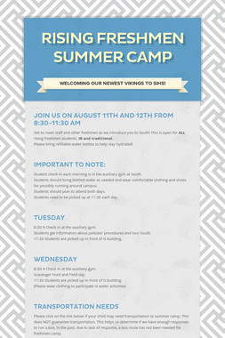 Rising Freshmen Summer Camp