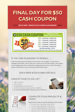Final Day for $50 Cash Coupon