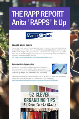 THE RAPP REPORT Anita 'RAPPS' It Up
