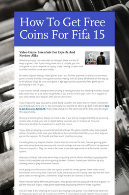 How To Get Free Coins For Fifa 15
