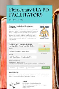 Elementary ELA PD FACILITATORS