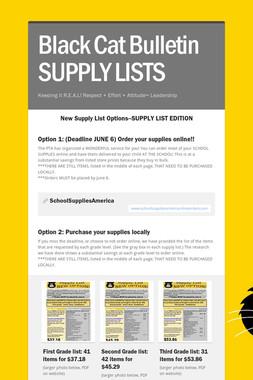 Black Cat Bulletin SUPPLY LISTS