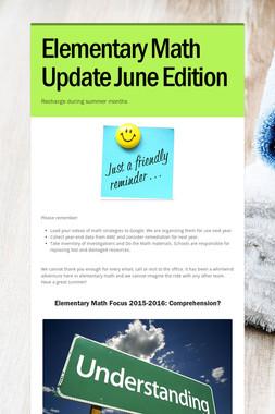 Elementary Math Update June Edition