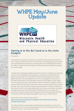 WHPE May/June Update