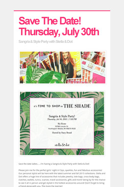 Save The Date!  Thursday, July 30th