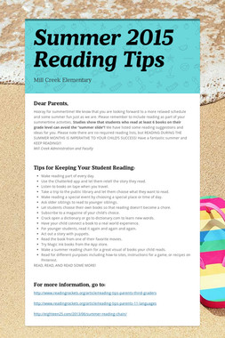Summer 2015 Reading Tips