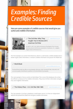 Examples: Finding Credible Sources