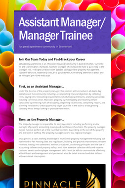 Assistant Manager/ Manager Trainee
