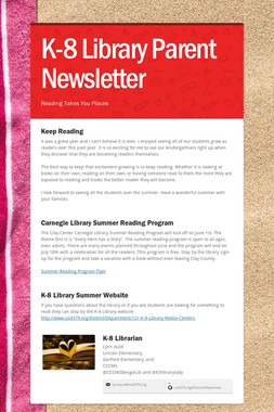 K-8 Library Parent Newsletter