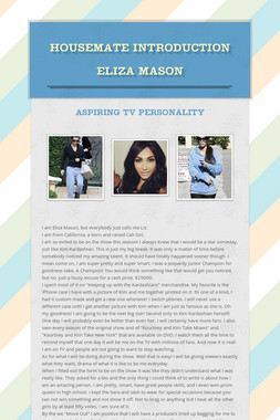 Housemate Introduction Eliza Mason