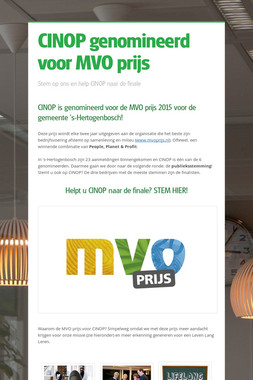 CINOP genomineerd voor MVO prijs