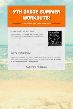 9th Grade Summer Workouts!