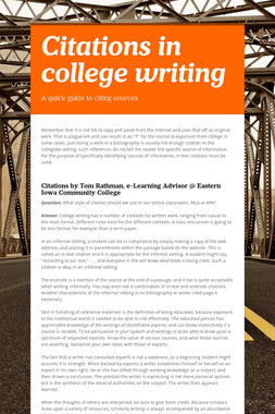 Citations in college writing