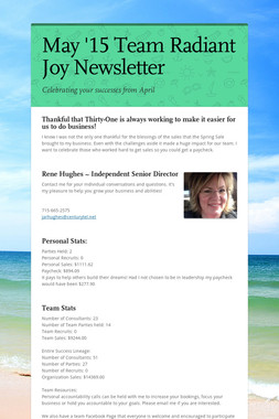 May '15 Team Radiant Joy Newsletter