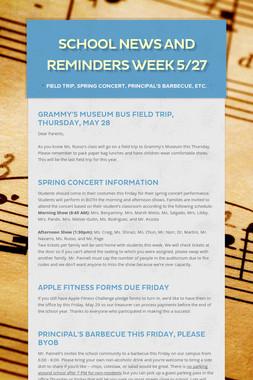 School News and Reminders Week 5/27