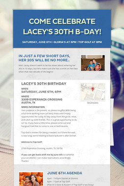 Come Celebrate Lacey's 30th B-Day!