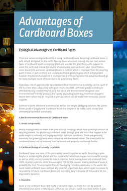 Advantages of Cardboard Boxes