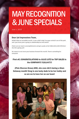 MAY RECOGNITION & JUNE SPECIALS