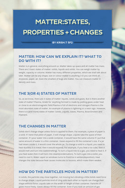 Matter:States, Properties + Changes
