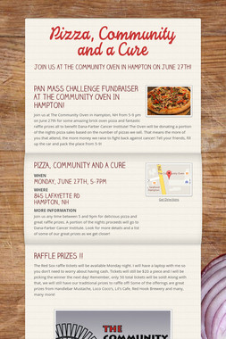 Pizza, Community and a Cure