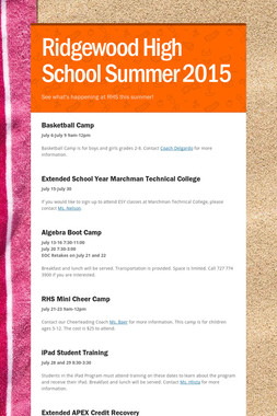 Ridgewood High School Summer 2015
