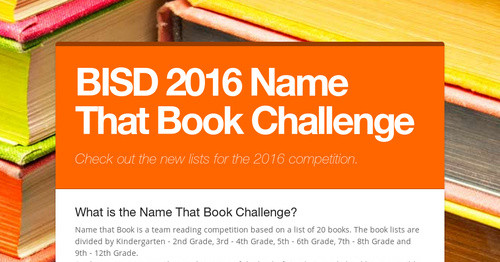Bisd 2016 Name That Book Challenge Smore Newsletters