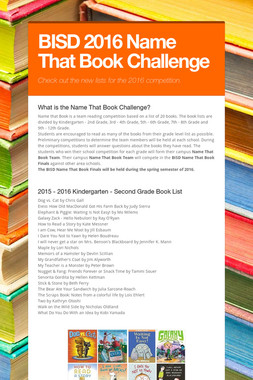 BISD 2016 Name That Book Challenge