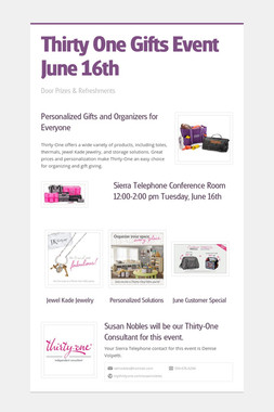 Thirty One Gifts Event  June 16th
