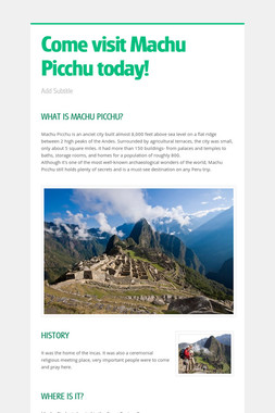 Come visit Machu Picchu today!