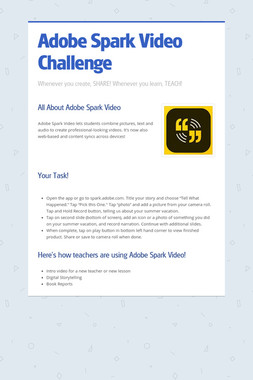 Adobe Spark Video Challenge