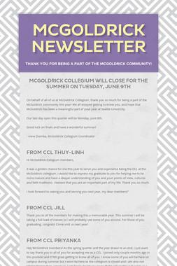 McGoldrick Newsletter