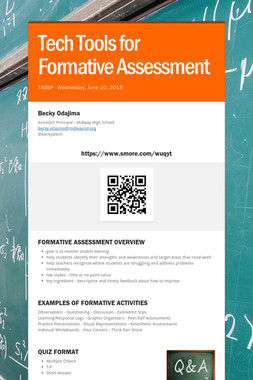 Tech Tools for Formative Assessment