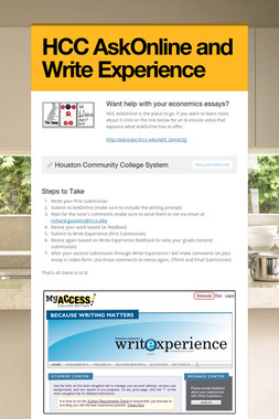 HCC AskOnline and Write Experience