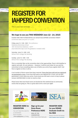 REGISTER FOR IAHPERD CONVENTION
