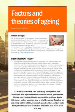 Factors and theories of ageing