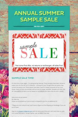 Annual Summer Sample Sale