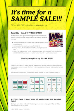 It's time for a SAMPLE SALE!!!