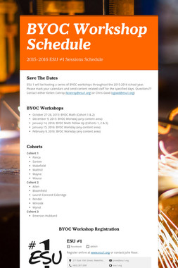 BYOC Workshop Schedule