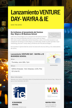 Lanzamiento VENTURE DAY- WAYRA & IE