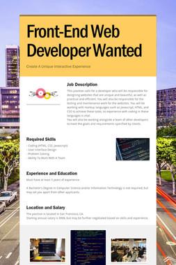Front-End Web Developer Wanted