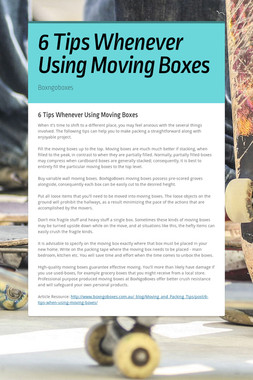 6 Tips Whenever Using Moving Boxes