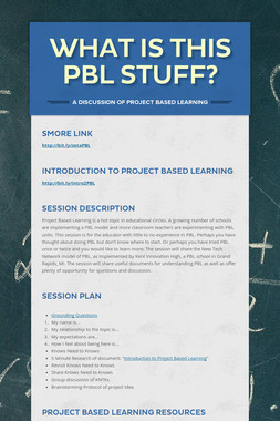 What Is This PBL Stuff?