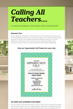 Calling All Teachers....