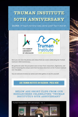 Truman Institute 50th Anniversary